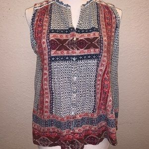 Lucky Brand Boho Embroidered Button Down Top Px
